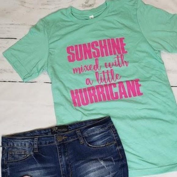 0826cfe6 Sunshine Mixed With A Little Hurricane Graphic Tee. Boutique. Bella Canvas